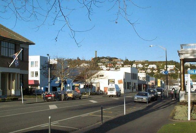 St Hill Street, view towards Durie Hill with lookout tower on top. Note Opera House pillars on right!